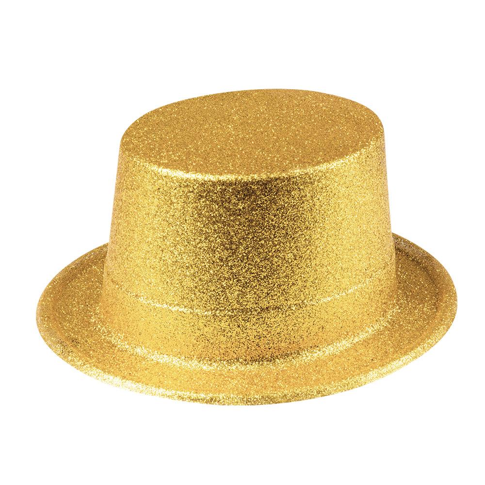 Chapeau haut de forme Or pailleté plastique pas cher