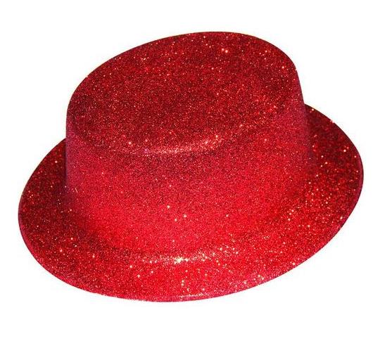 Chapeau haut de forme Rouge pailleté plastique pas cher