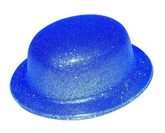 Chapeau melon bleu pailleté plastique pas cher
