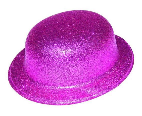 Chapeau melon rose pailleté plastique pas cher