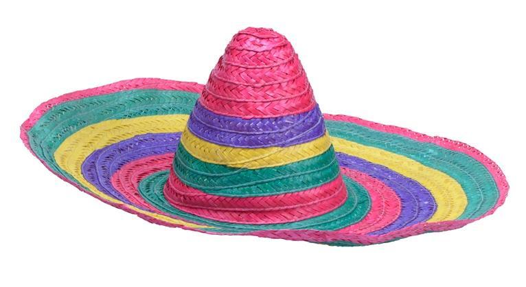 Chapeau Mexicain paille multicolore pas cher
