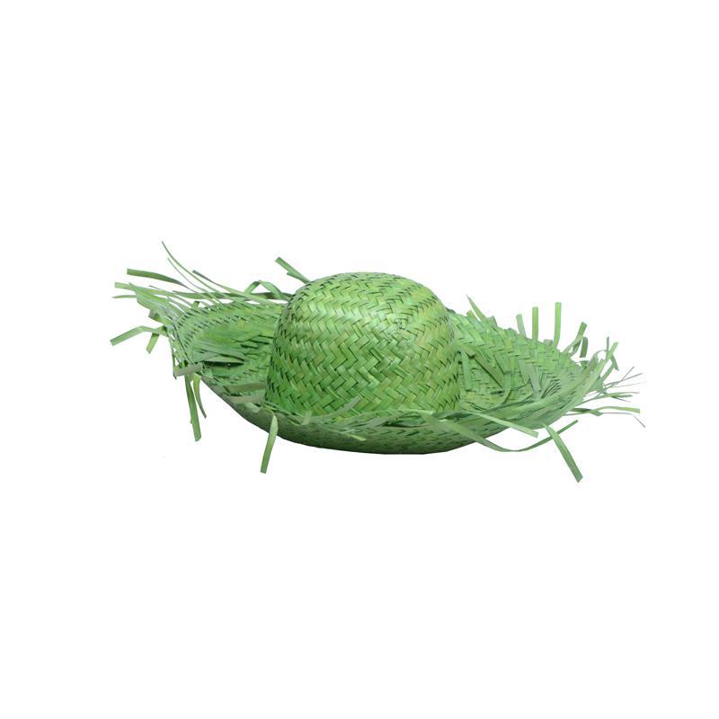 chapeau tahiti vert en feuilles de palmier pas cher