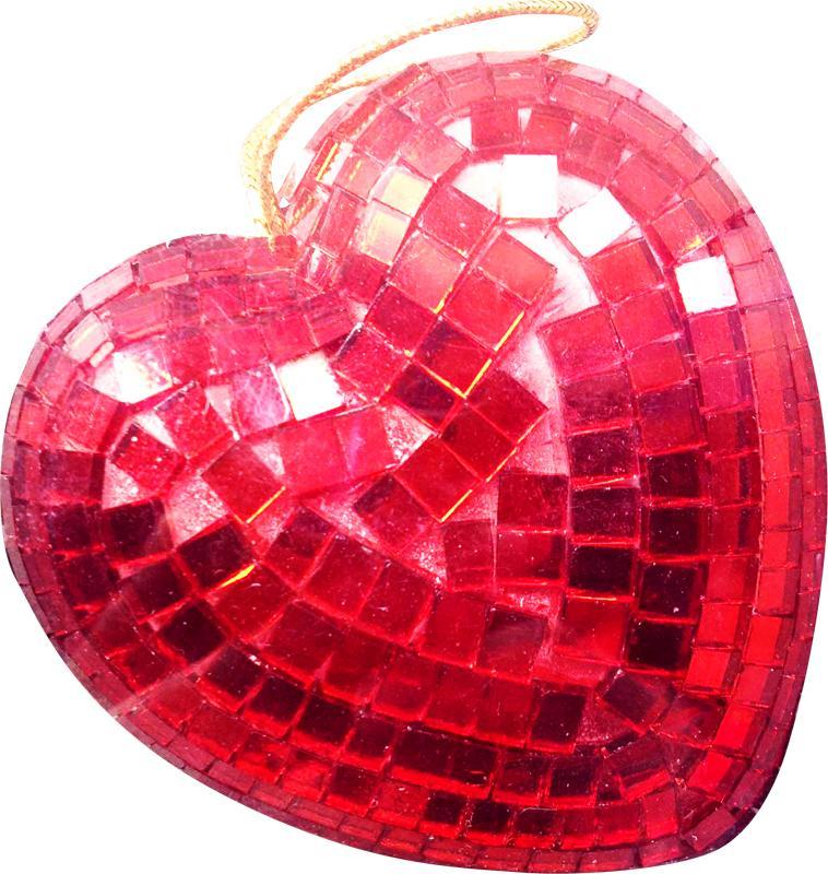 Coeur à facettes rouge 9 cm en boite pas cher