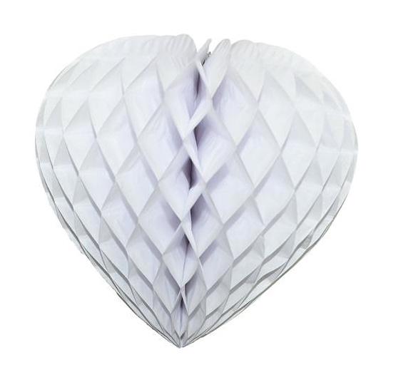 Coeur en papier alvéolé de couleur blanc pas cher