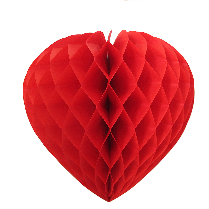 Coeur en papier alvéolé ignifugé de couleur rouge pas cher