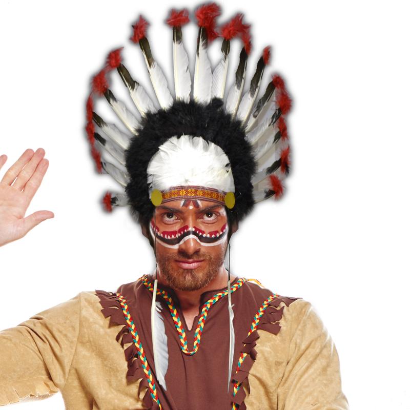 Coiffe chef indien à plumes pas cher