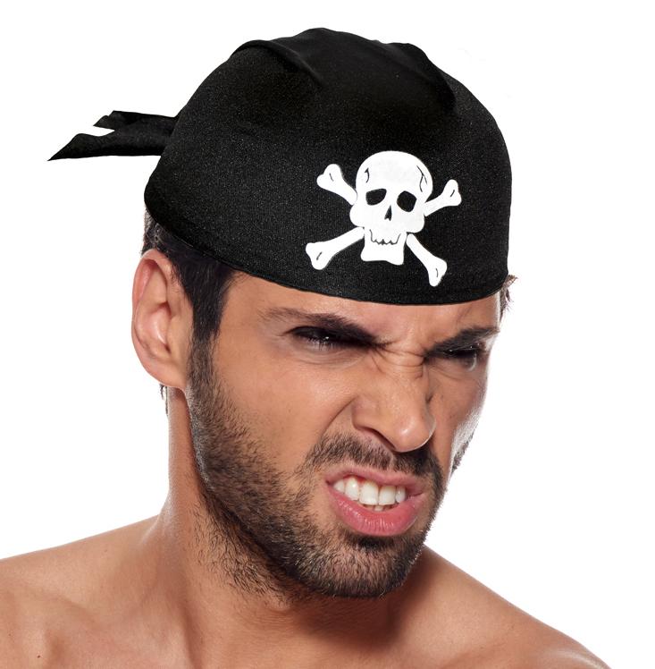 Coiffe pirate noir et tête de mort pas cher