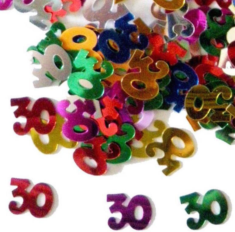 Confettis numéros 30 multicolores
