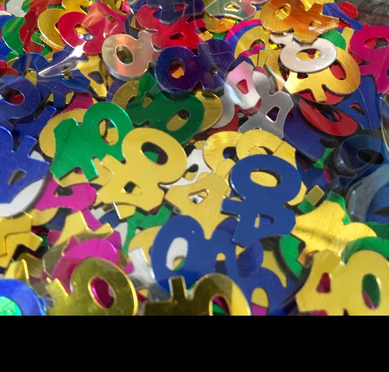 Confettis numéro 40 multicolores