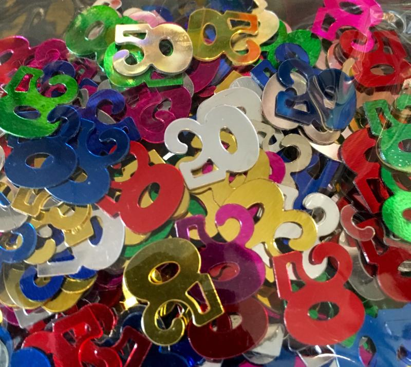 Confettis numéro 50 multicolores