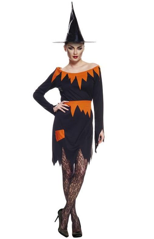 Déguisement sorcière orange et noir pas cher