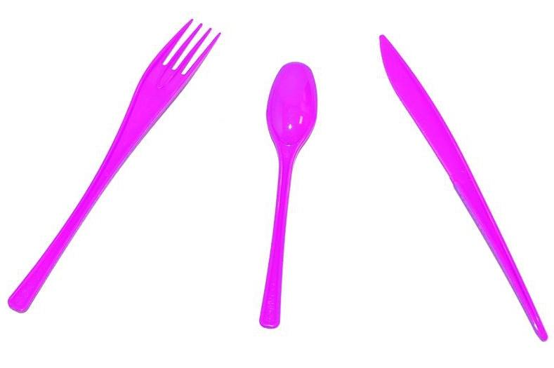 30 Couverts Jetables Fuchsia