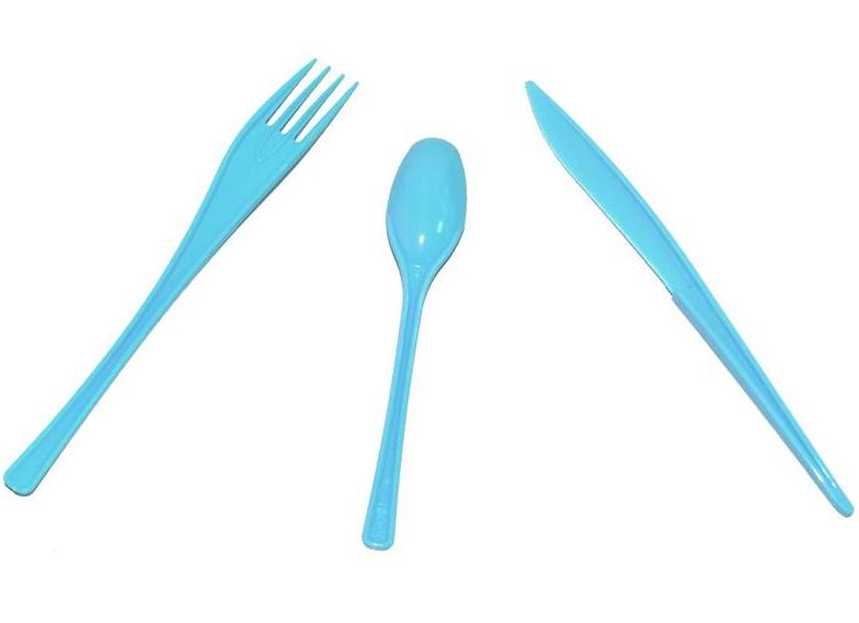 30 Couverts jetables Turquoise