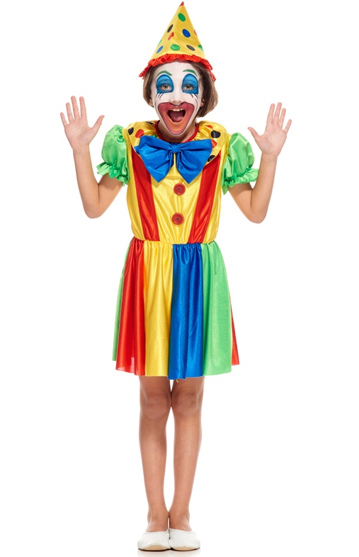 Déguisement de petite clown multicolore pas cher