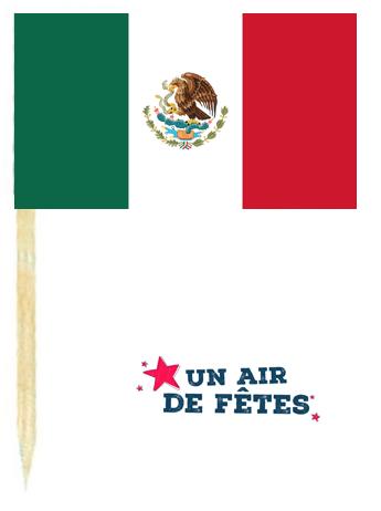 Drapeau mexique avec pique en bois vendu en sachet de 50