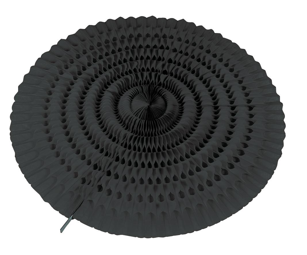 décoration éventail noir en papier ignifugé de 50 cm de diamètre