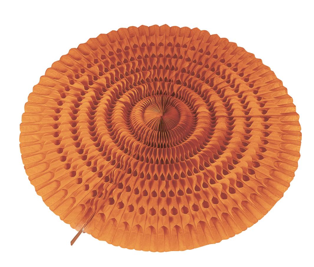 Décoration éventail orange en papier ignifugé