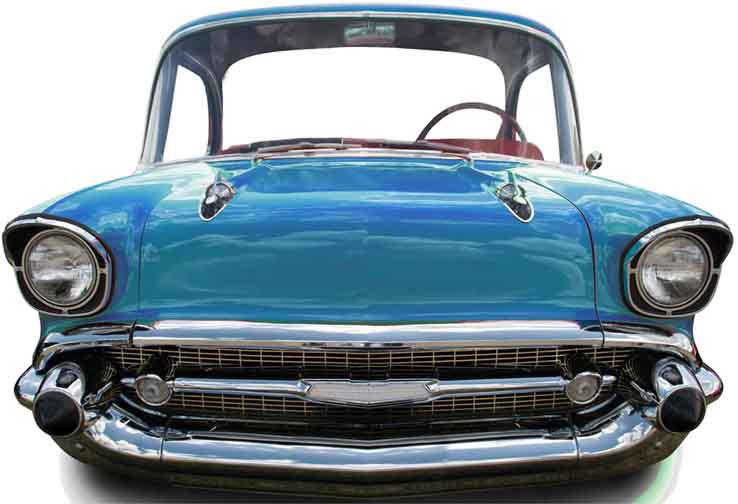 Figurine géante voiture bleue en carton