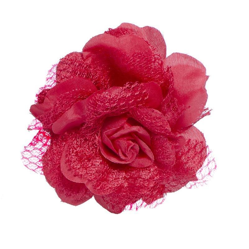 Fleur Rouge Montée sur barrette pas cher