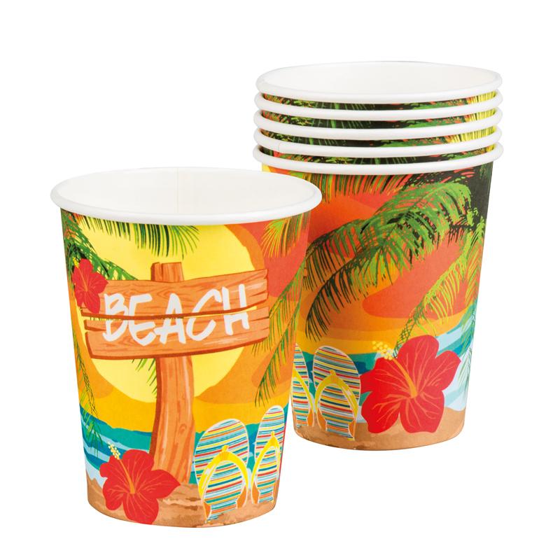 Gobelets hawaï en carton pas cher
