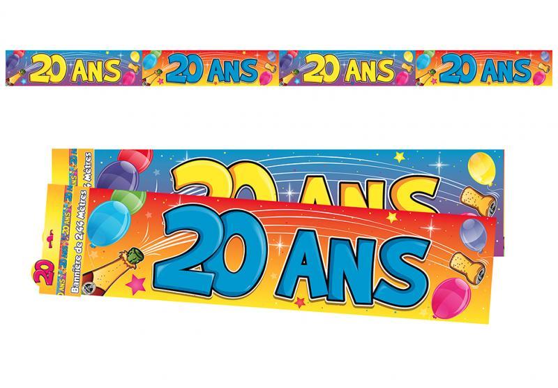 Guirlande bannière anniversaire 20 ans pas cher
