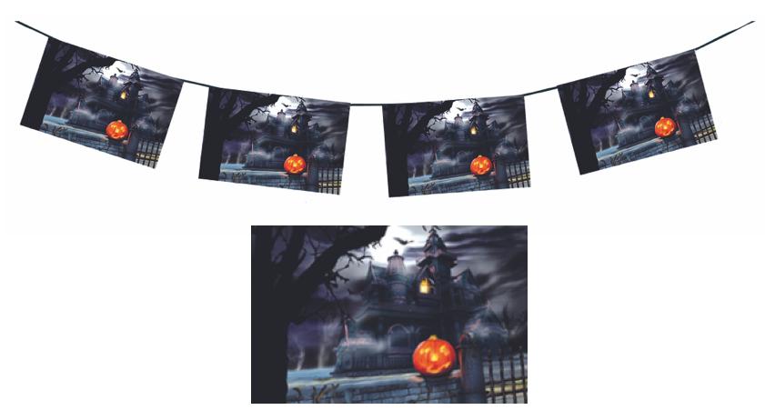 Guirlande château hanté en papier ignifugé pour Halloween
