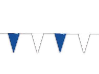 guirlande fanion bleu et blanc plastique pas cher