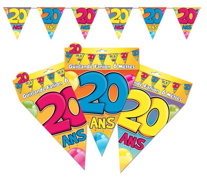 Guirlande fanions anniversaire 20 ans