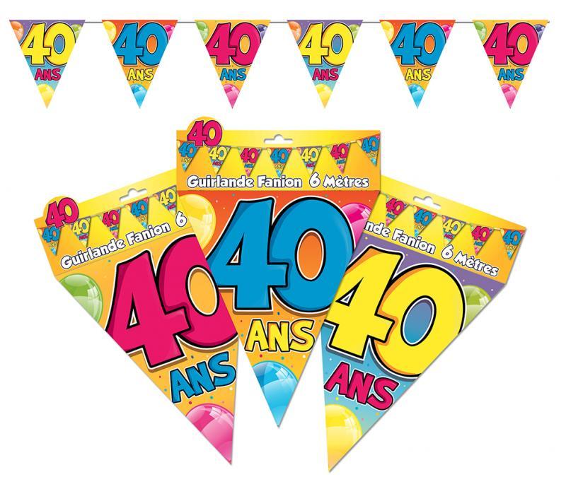 Guirlande anniversaire fanions 40 ans
