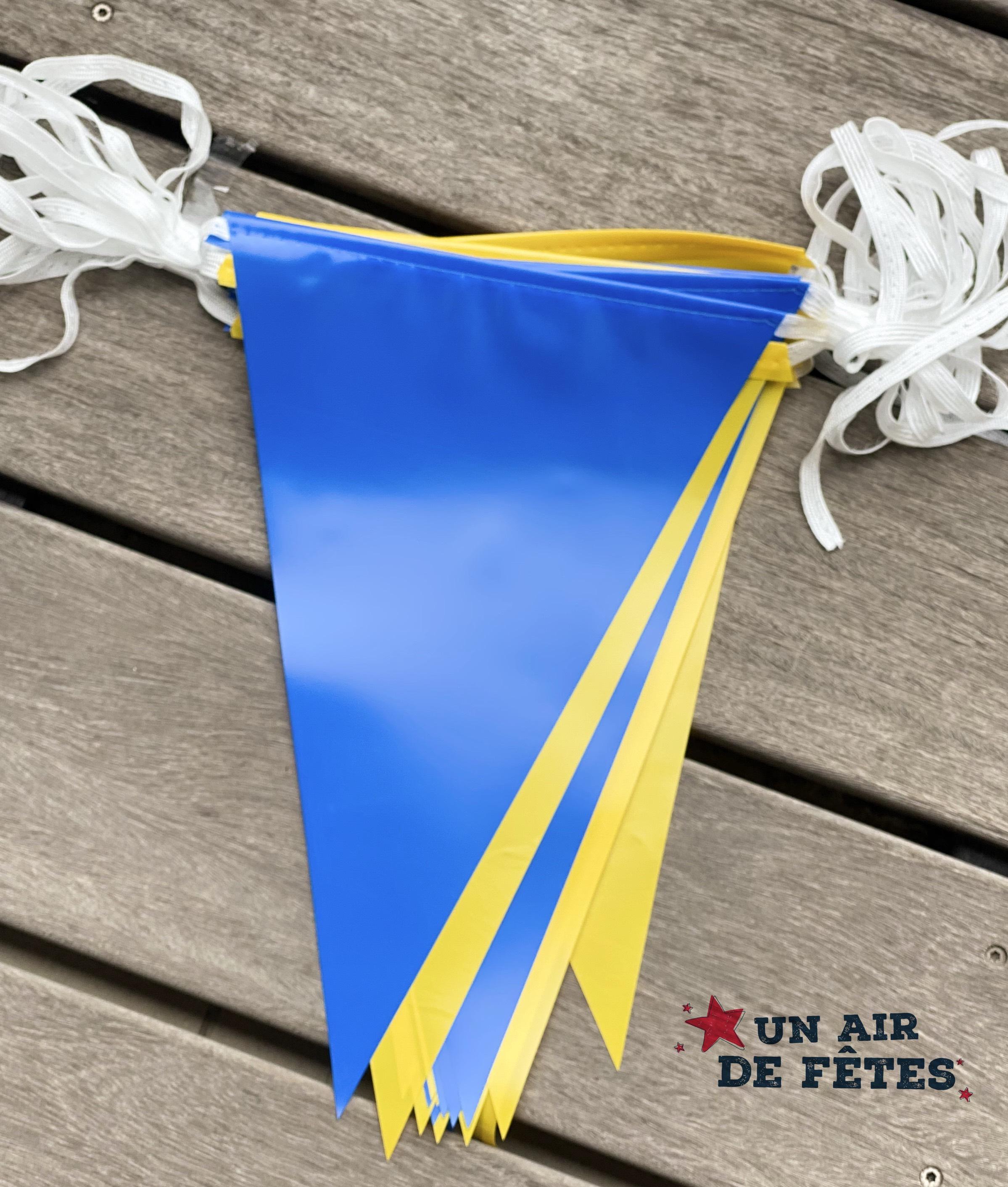 Guirlande fanions bleu et jaune pour extérieur pas cher