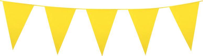 Guirlande fanions géants jaunes en plastique.