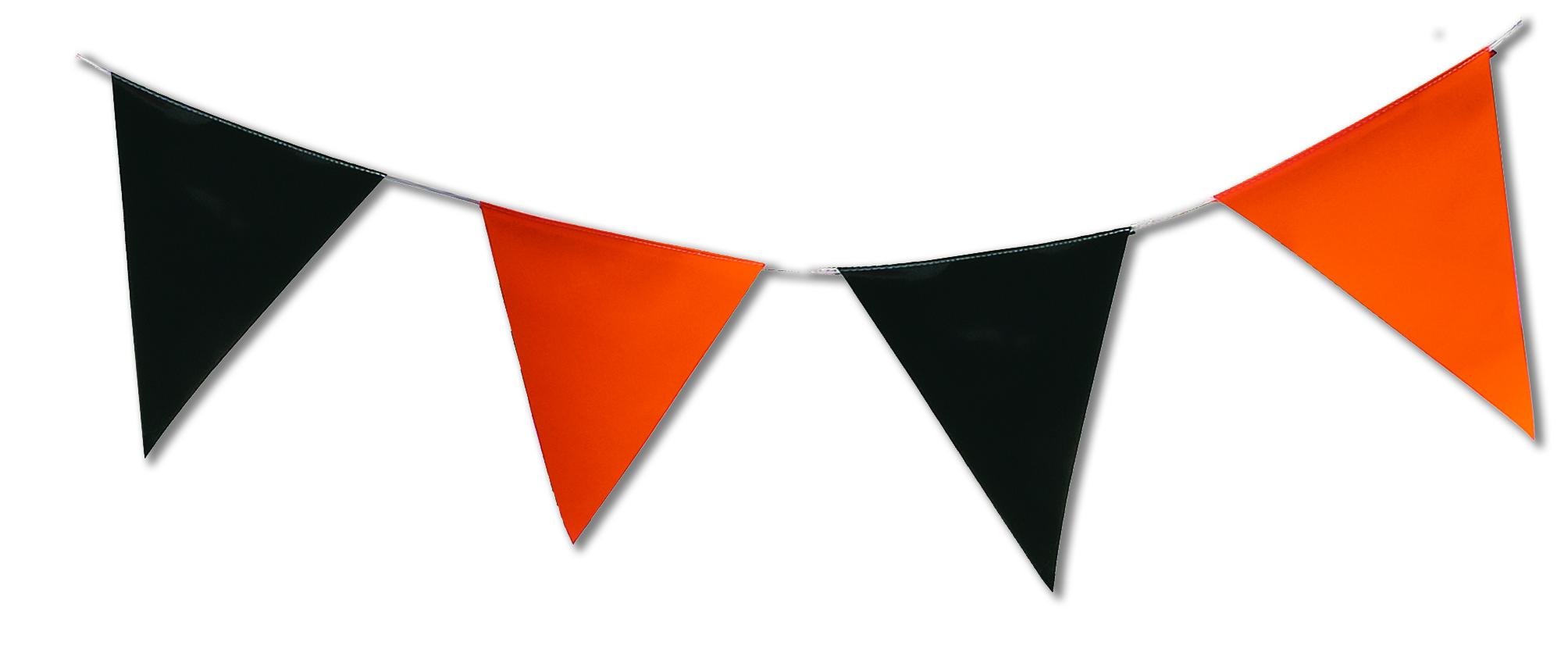Guirlande fanions orange et noir triangulaire en plastique