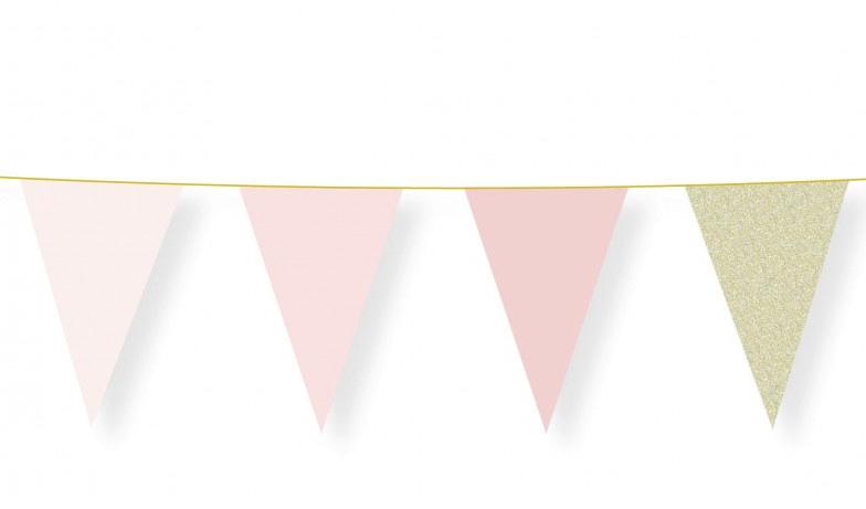 Guirlande fanions rose pastel pas cher