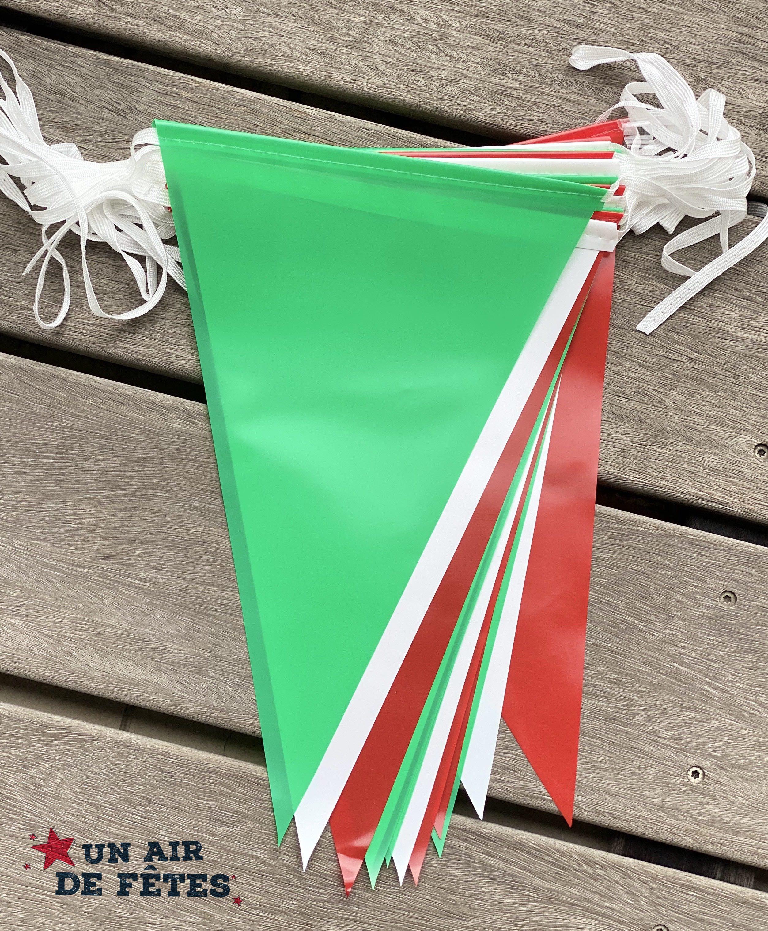 Guirlande fanions vert blanc rouge pour extérieur