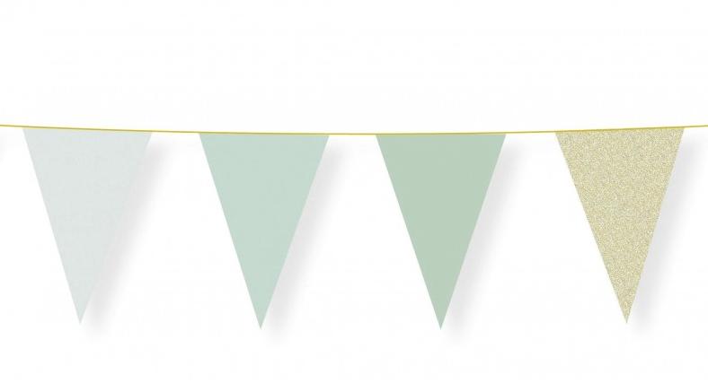 Guirlande fanions vert pastel pas cher