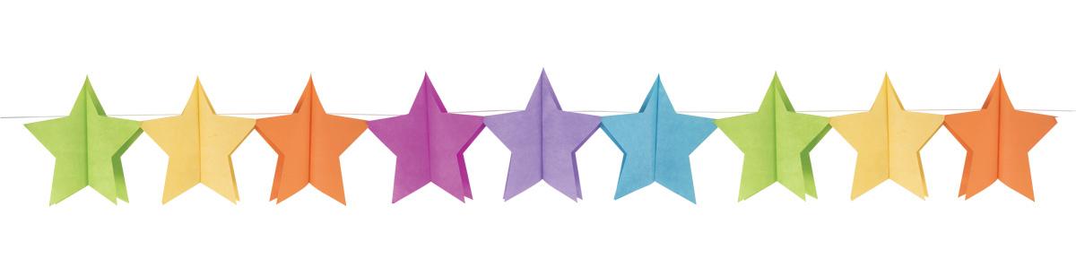 Guirlande multicolore papier étoile pas cher