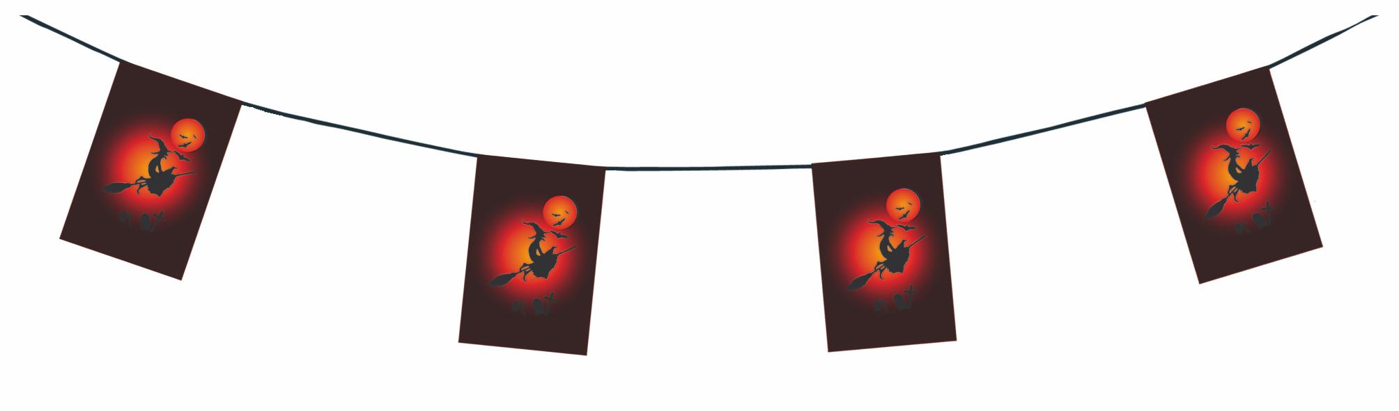 Guirlande sorcière en papier ignifugé pour Halloween