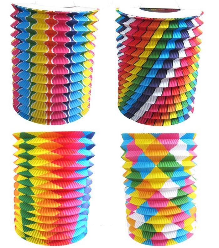 Lampion cylindrique bariolé et pas cher