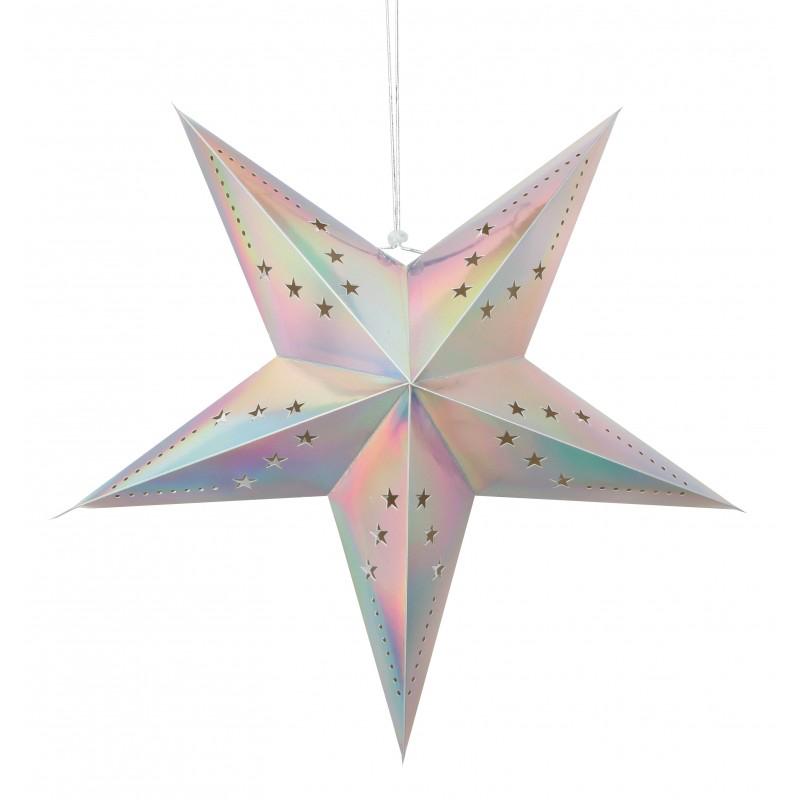 Lanterne étoile pastel irisée pas cher