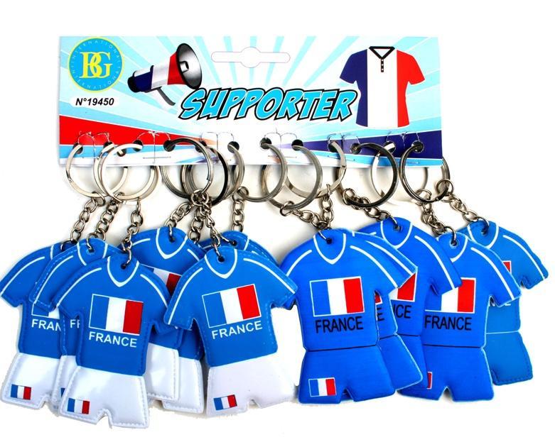 Lot de 12 porte clés maillot foot France pas cher