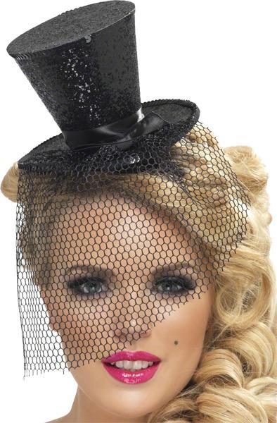 Mini Chapeau Haut de Forme Noir Pailleté pas cher