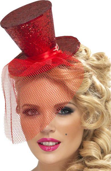 Mini Chapeau Haut de Forme Rouge Pailleté pas cher
