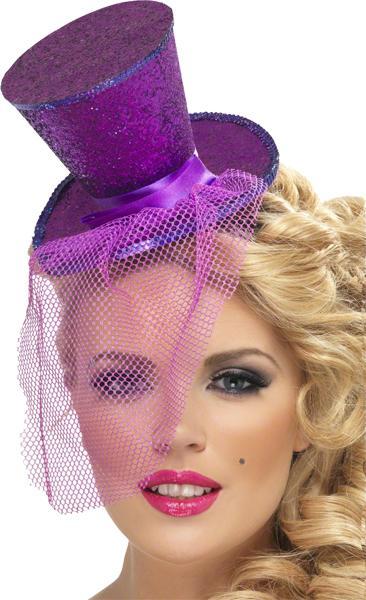 Mini Chapeau Haut de Forme Violet Pailleté pas cher