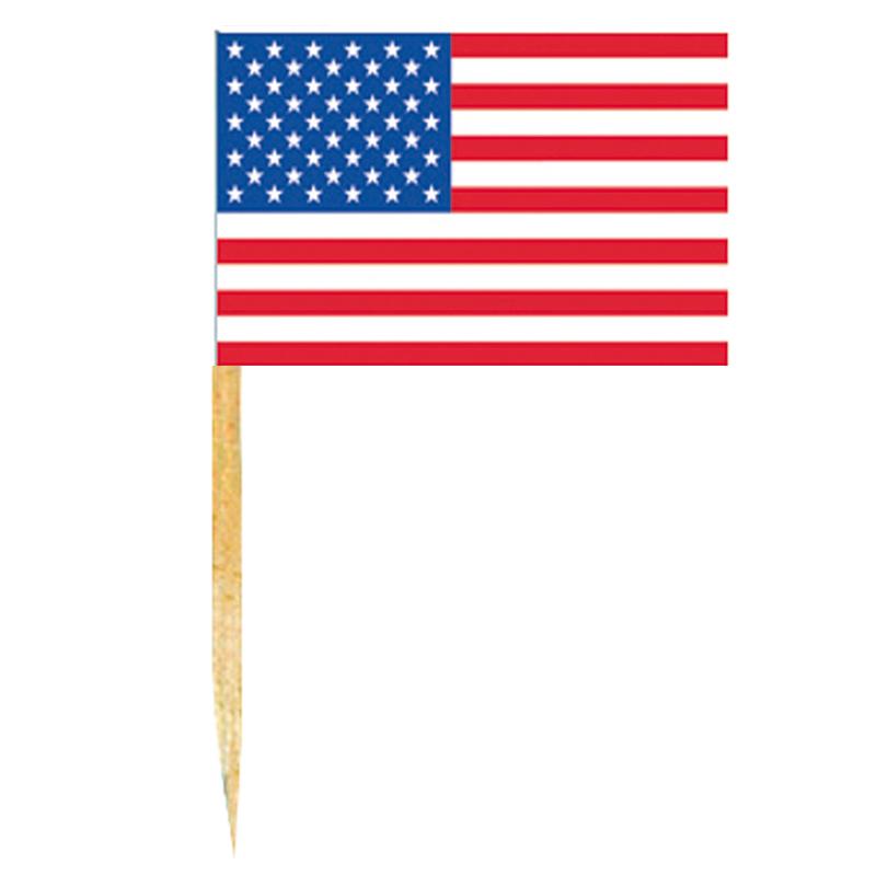 Mini drapeaux USA avec pic en bois pas cher