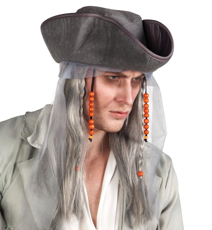 Perruque fantôme pirate avec chapeau pas cher