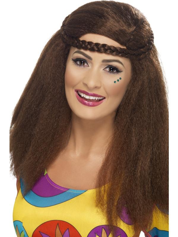 Perruque hippie afro brune pas cher
