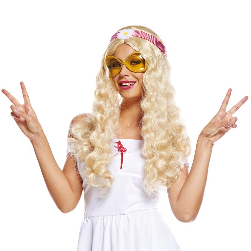 perruque hippie blonde pour femme avec bandeau