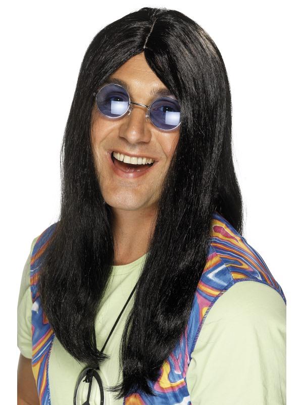 Perruque hippie homme noire pas cher