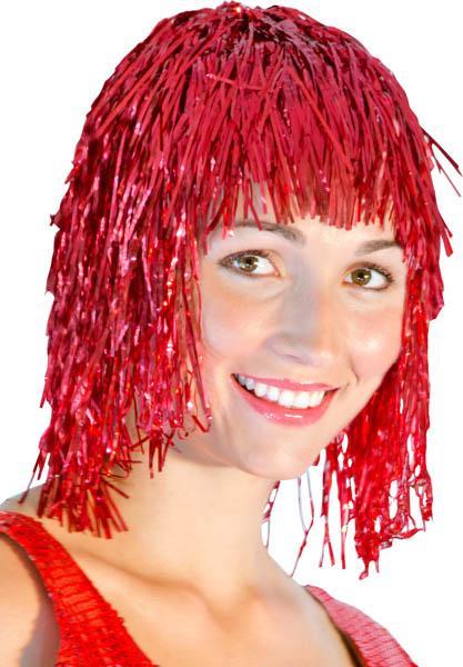 Perruque Métallisée Rouge pas cher
