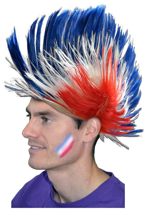 Perruque punk tricolore pas cher